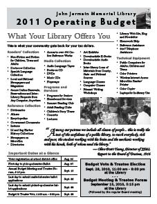 John Jermain Memorial Library 2010 Operating Budget Newsletter