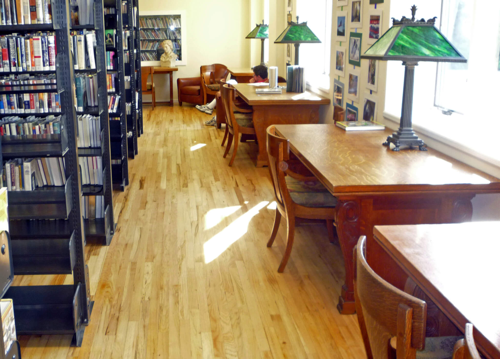 Water-view quiet reading and study tables at JJML's temporary location at 34 W. Water St.