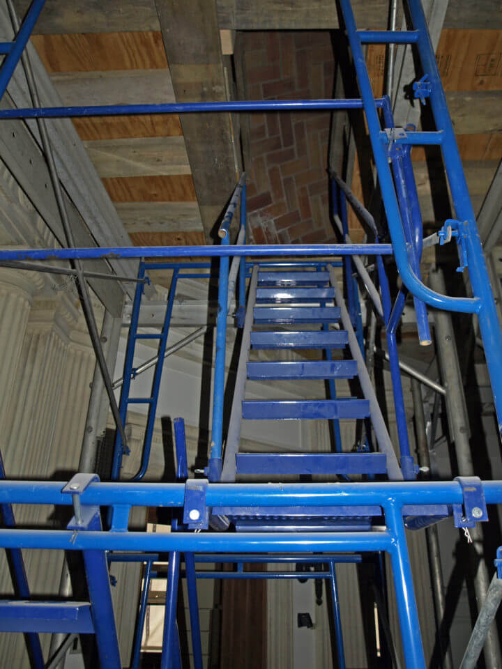 Scaffolding stairway to the dome