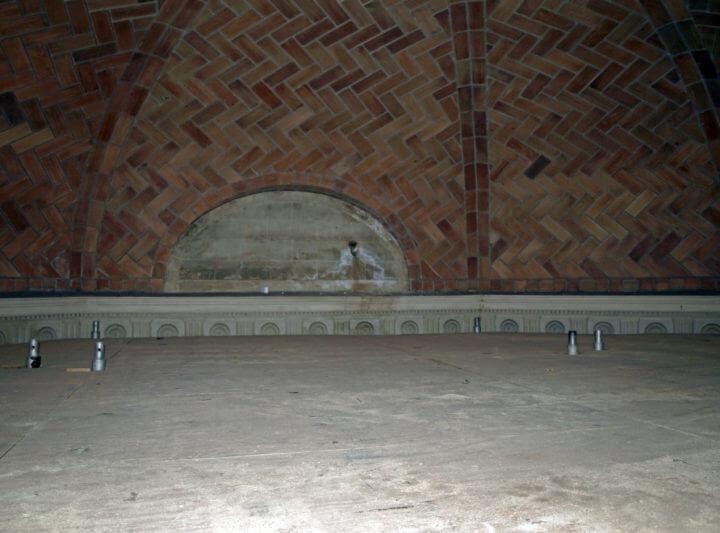 On the scaffolding inside the Guastavino dome.