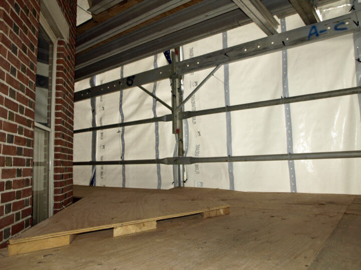 Inside the Scaffolding and Weatherproofing - Southwest Corner