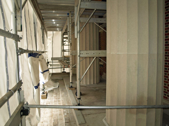 Inside the Scaffolding and Weatherproofing