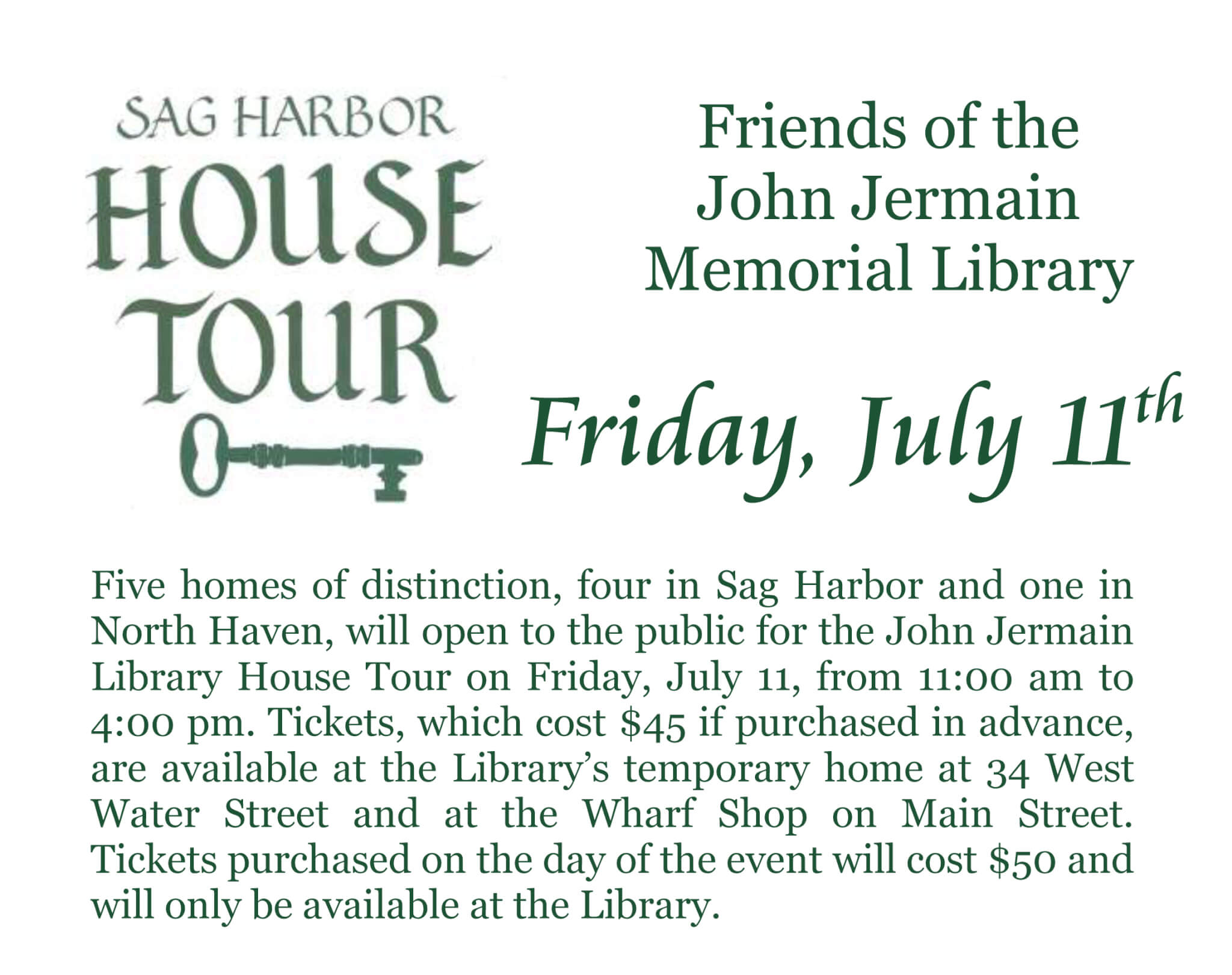 Sag Harbor House Tour, Firday July 11, 11:00 am - 4:00 pm