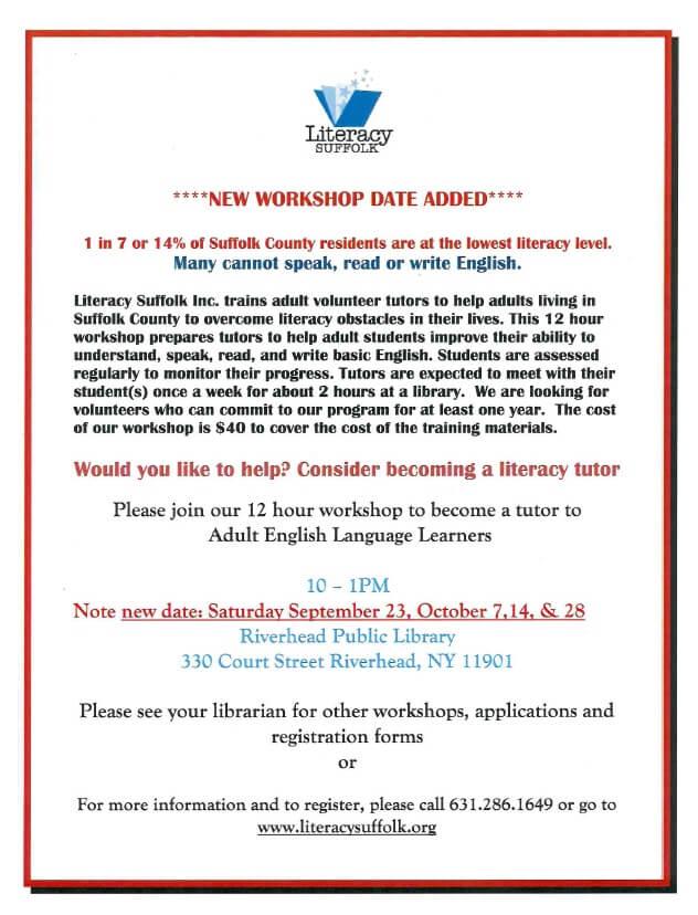 literacy suffolk workshop