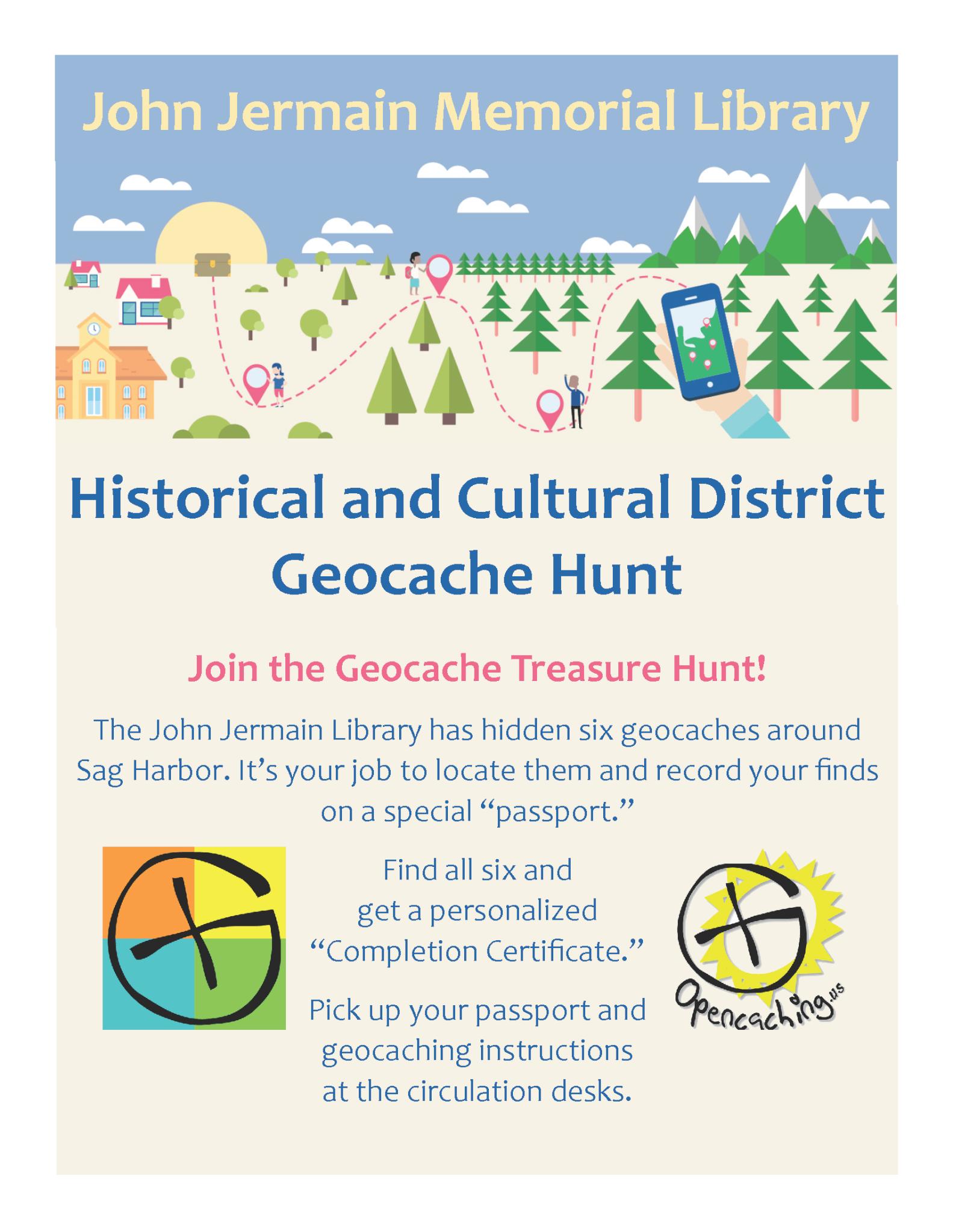 John Jermain Historical and Cutlural Distriict Geocache Hunt Flyer