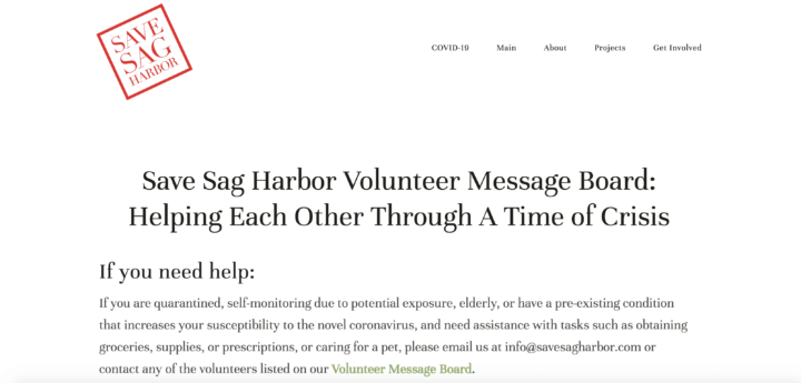 Save Sag Harbor Volunteer Message Board: Helping Each Other Through A Time of Crisis