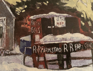 """a farmstand reading """"fresh eggs"""" """"4.50"""" and """"R + R Farmstand"""" with snow on the ground."""