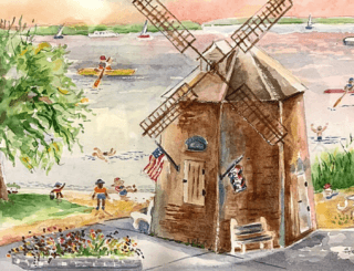 The Sag Harbor windmill decorated with patriotic flags, with people swimming, kayaking, or playing on the beach.