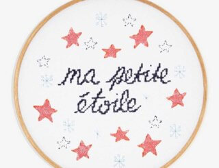 the words ma petite etoile in script on white surrounded by pink and blue stars.