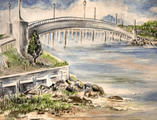 A depictions of the Ferry Road bridge, including the bay, rocks, trees, and grass.