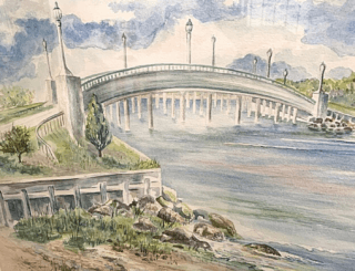 A depiction of Ferry Road Bridge done in pastel blues, greens, and greys.