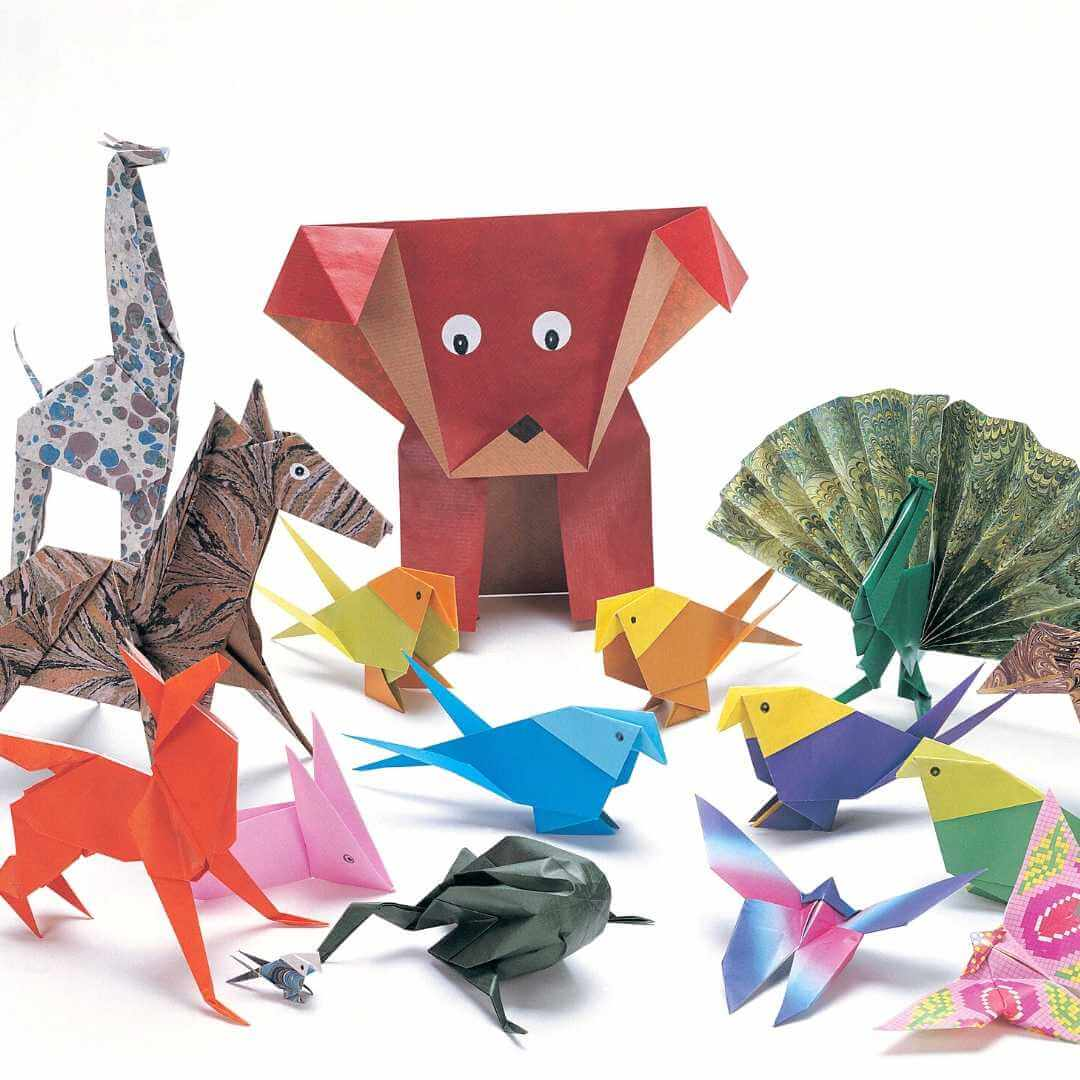 Kids origami figures such as horses, dogs, a different birds.
