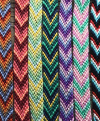 chevron style knotted friendship bracelets in lots of colors.
