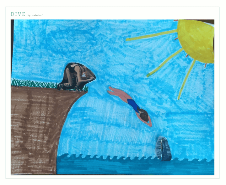 A drawing colored in marker of a high seaside cliff and a sunny sky. A diver is shown in three positions: about to dive from the cliff into the ocean, in mid-dive, and entering the water below.