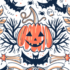 an orange colored in jack-o-lantern surrounded by Halloween motifs like bats, spiders, etc.