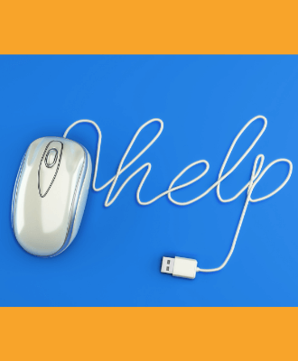 "a computer mouse on a blue background, with the mouse wire spelling out ""help"""