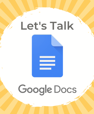 "The Google Docs logo with the words ""Let's talk Google Docs"""