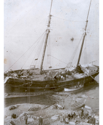 photo of listing ship
