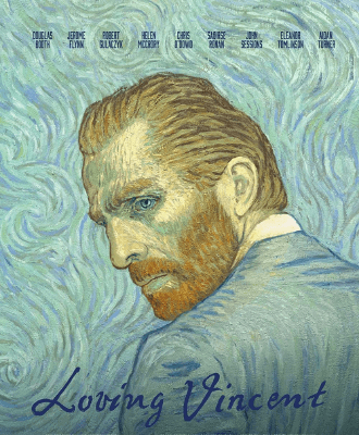 A man painted in the style of Vincent Van Gogh paintings is dressed in blue on a blue background.