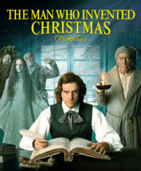 Charles dickens surrounded by the scrooge and the three ghosts of christmas