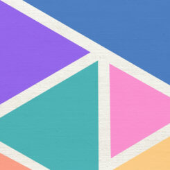 solid color geometric shapes separated by white lines on canvas.