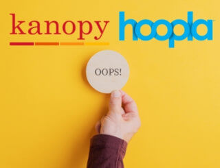 "The kanopy and hoopla logos with a man holding a wooden disc that say ""oops"""