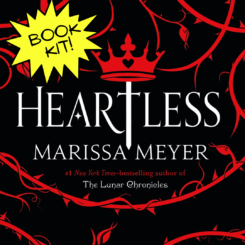 black, red and white book cover for Heartless, by Marissa Meyer.
