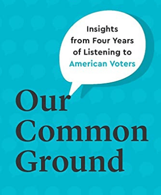 """The book cover, which reads """"Our Common Ground: Insights from Four Years of Listening to American Voters"""""""